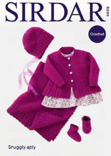 Sirdar 4 ply Crochet Pattern 4939- Coat, Hat, Bootees and Blanket